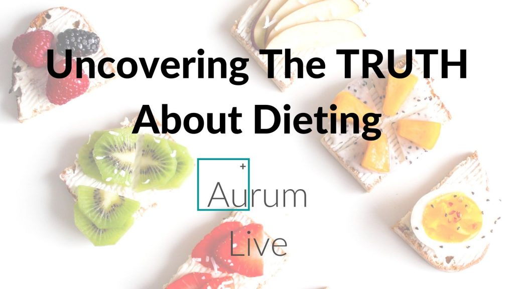 "photo of fruit on toast, with the title ""Uncovering the TRUTH about Dieting"" and Aurum Live Logo below it in the centre"