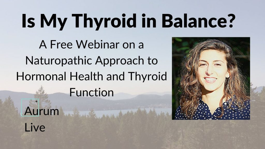 Is my Thyroid in Balance with a photo of Dr. TAnia Tabar on the right and mountains and sky in the background.